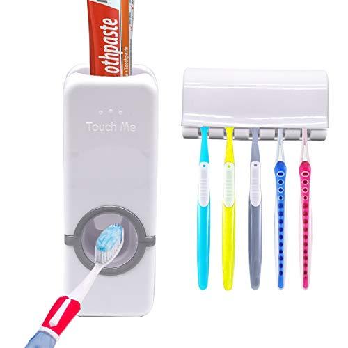 5 porte-brosses Presse-dentifrice automatique, distributeur de dentifrice, avec porte-brosse à dents à dents muraux blancs en plastique multifonctionnel hôtel salle de bain familiale