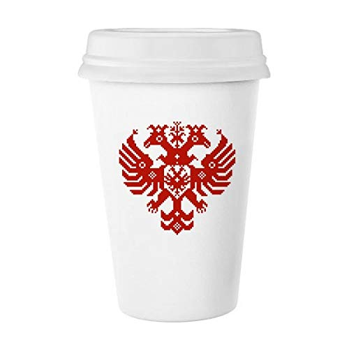 Mosaïque Style Rouge Russie Emblème double tête Eagle Classic Mug Blanc poterie en céramique Tasse de lait Tasse à café cadeau 350 ml