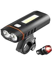 自転車ライト USB充電式 LED ヘッドライト【最新版】 高輝度 5モード対応 5200mAh IPX5防水 多機能デザイン 懐中電灯兼用 SOS機能 アルミ合金製 ワークライト搭載 テールライト付き