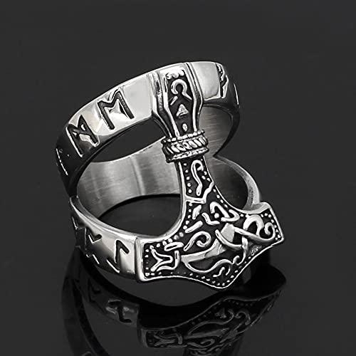 WHH&YZQ Viking Rune Thor's Hammer Ring Nordic Luck Amuleto Anillos Acero Inoxidable Mjolnir Protección Símbolos Joyería Regalo para Hombre,13