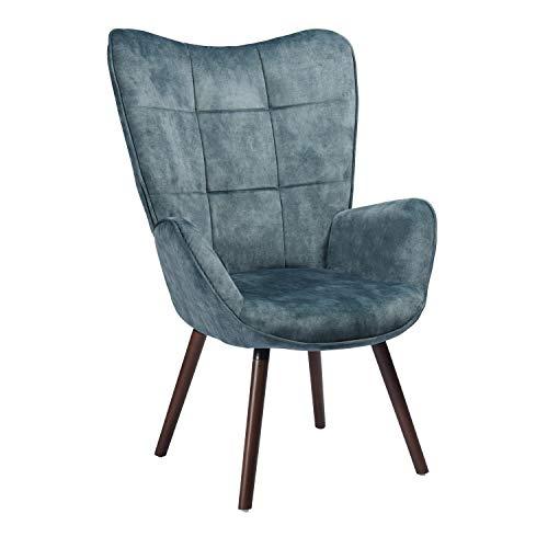 Mueble Cosy - Sillón Grande de Estilo escandinavo con un Revestimiento de Tela Azul, reposabrazos Acolchados y Patas de Madera Maciza (Haya)