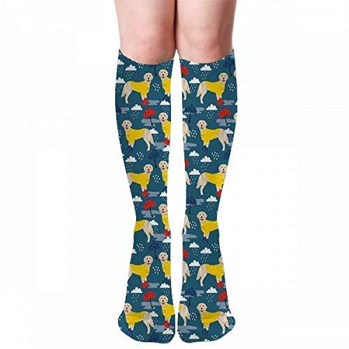 Golden Retriever Dog Rain Umbrella, Rain Boots, Wellingtons, Knee High Compression Socks For Men & Women-Best For Running,Athletic