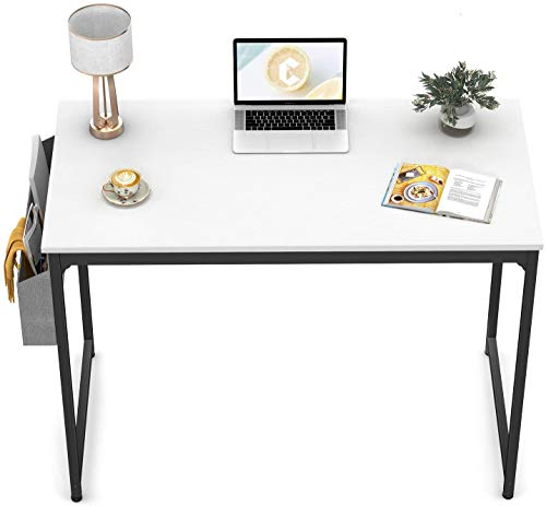 CubiCubi Computer Desk 32' Study Writing Table for Home Office, Modern Simple Style PC Desk, Black Metal Frame, White