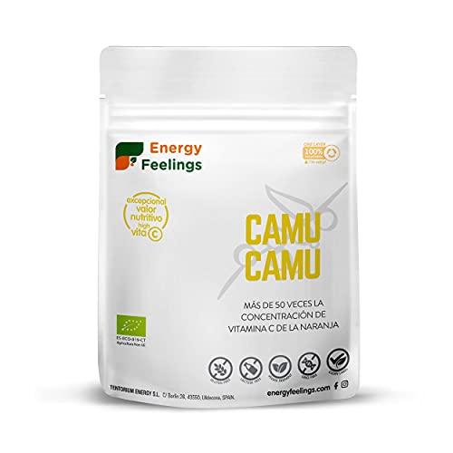 Energy Feelings Camu Camu En Polvo Ecológico | Alta Concentración De Vitamina C Pura | Antioxidantes | Colágeno | Vegano | Sin Gluten | | Camu, 100 Gramo