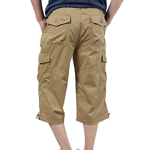 Longra Werkbroek, voor heren, 100% polyester, veiligheidsbroek met elastiek, tuinshorts, effen