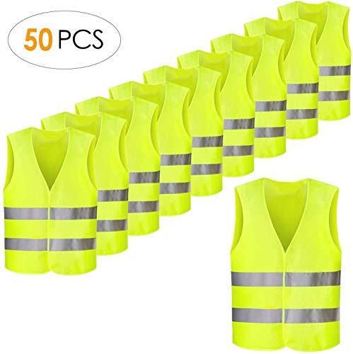 FEMOR Warnwesten 50 Stück Auto Gelb 360 Grad Reflektierende Sicherheitswesten Pannenwesten für Erwachsene Fahrrad Waschbar Knitterfrei(XXXL,70x 46cm)