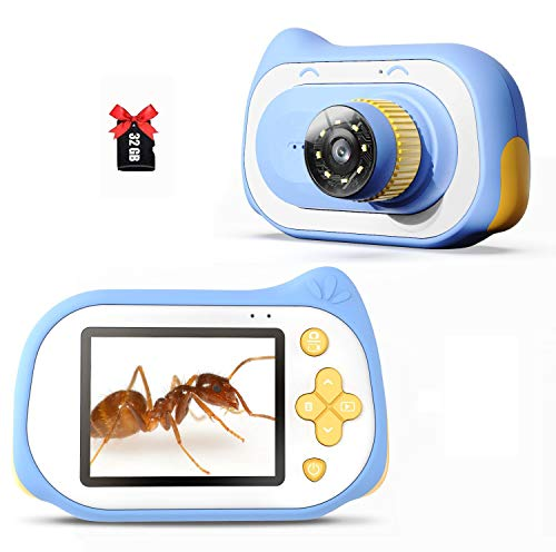 Kids Digital Camera with Microscope Function, 200X Magnifier Digital Microscope 15MP Compact Starter Camera Mini Video Player Recorder with Free 32GB TF Card Choice for Girls Boys (Blue)