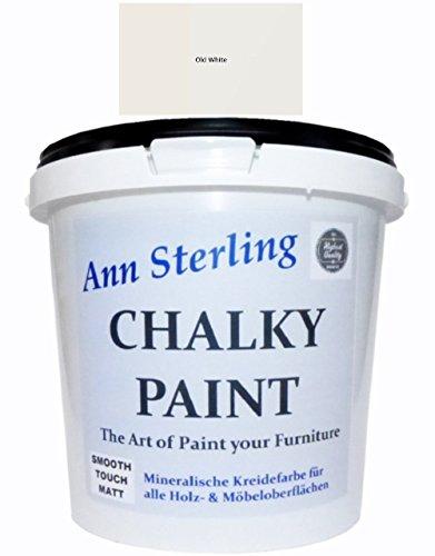 Ann Sterling Kreidefarbe Shabby Chic Farbe: Chalky Oldwhite/Altweiß 1,5Kg. / 1 Liter Lack Chalky Paint