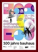 ポスター バウハウス 100 Jahre Bauhaus Festival 2019 white 額装品 ウッドベーシックフレーム(レッド)