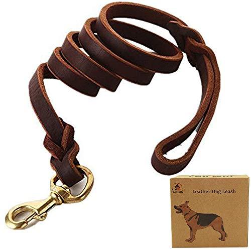 Fairwin Reißfeste und Bissfeste Hundeleine mit Starkem Leder, 200cm für kleine & große Hunde Stabil und Unzerstörbar mit Verschiedene Breite (L 1,8CM)