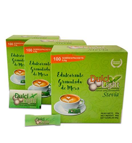 STEVIA Ecologica Natural Edulcorante granulado Dulcilight stevia 300 SOBRES CON PRACTICO DISPENSADOR, Producto SABOR Y CALIDAD PREMIUM