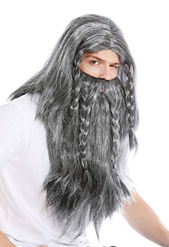 WIG ME UP ® - RJ033-P103-68 Peluca Larga y Barba Trenzada para Hombre Carnaval Vikingo bárbaro Enano Germano Viejo Colores Gris Negro Blanco entrecano