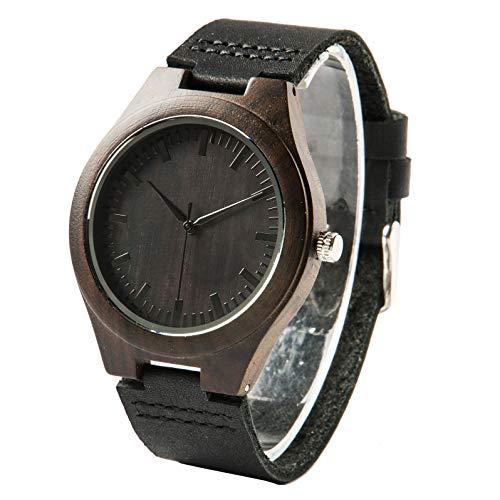 Reloj de Madera grabada para Hombre, Correa de Cuero, Madera de ébano