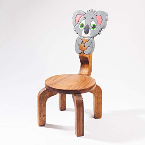 Kinderstuhl, Kinderhocker, massiv aus Holz mit Tiermotiv Koala Bär, 25 cm Sitzhöhe für unsere Kindersitzgruppe