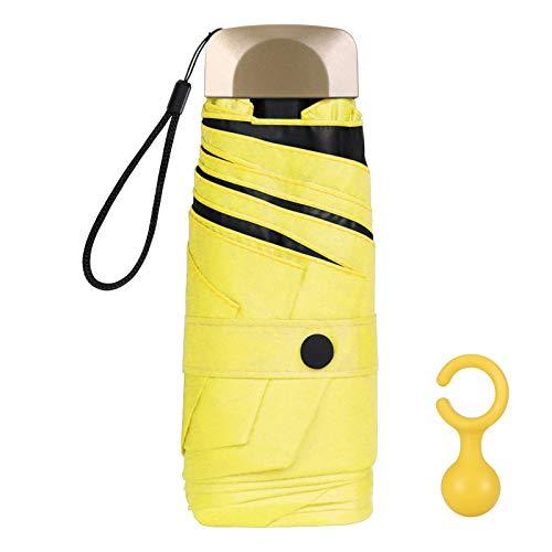 Vicloon Mini Paraguas, Paraguas de Viaje Portátil 6 Varillas, Paraguas Plegables con 210T Negro Tela de Goma, Aleación de Aluminio de Costilla & Mango Dorado, Resistencia UV & Impermeable - Amarillo