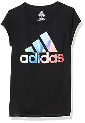 adidas Girls' Short Sleeve Side Vent Tee T-Shirt, Black BoS Multi, Small