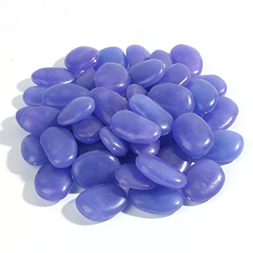 Glow in The Dark Garden Pebbles,Decorative Pebbles, Glow Stones, Fish Tank Aquarium Gravel, Glow Pebbles Marbles Rocks, Vase Fillers for DIY Garden Gifts Decoration, 3-4cm, 400g/0.88lbs, Purple