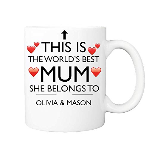 Personalised Mothers Day Gifts Coffee Cup/Mug - This is The World Best Mum - Novelty Office, Birthday, Mother's Day, Christmas Coffee Gift Tea Cup Present