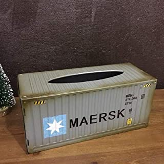 TheHiddenDeer - Iron Metal Tissue Box Holder - Vintage Style Loft Home Decoration - Container MAERSK Tin Face Tissue Box Holder - Tissue Organisers (Grey Maersk)