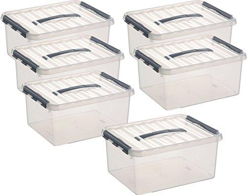 Sunware Aufbewahrungsbox - 6 Boxen à 15 Liter im Set / 40 x 30 x 18 cm mit Clic-Verschluss und Tragegriff