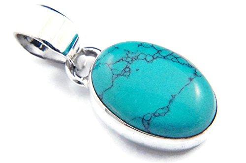 Türkis Anhänger 925 Sterlingsilber Kettenanhänger Medaillon blau grün (81-15)