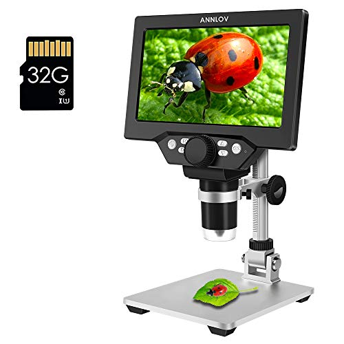 Digital Microscope ANNLOV 1080P Video Microscope with 8 Adjustable LED Lights and Metal Stand for Kids Adults Soldering Coin Microscope - 7 inch Display