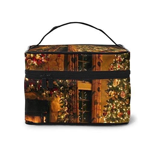 Vintage Kamin ChristmasCosmetetic Taschen Kosmetiketui Reise Make-up Taschen Organizer Tragbare Aufbewahrungstasche mit Griff in Multifunktions-Großkapazität