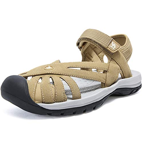 CAMEL CROWN Women's Hiking Sandals Sport Water Sandals Comfort Walking Closed Toe for Outdoor Beach Athletic Apricot 7.5