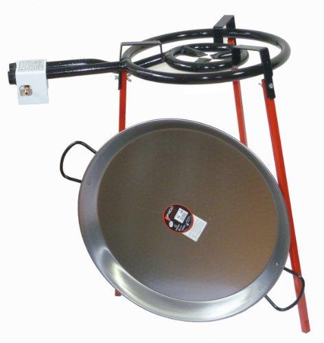 Paella - Juego de paella (400 mm, doble quemador con cacerola de acero pulido de 55 cm)