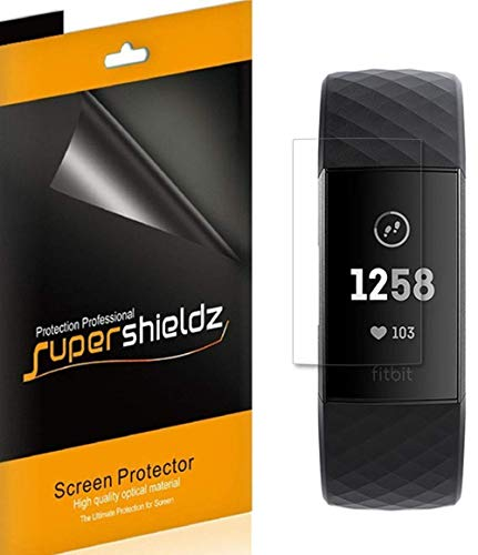 (6 Pack) Supershieldz for Fitbit Charge 3 and Charge 3 SE Screen Protector, 0.11mm, High Definition Clear Shield (TPU)