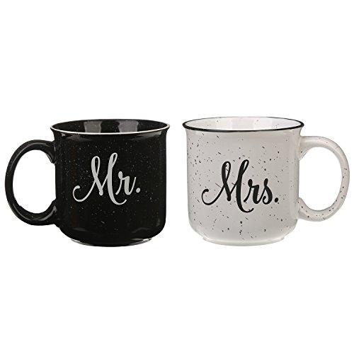 CEDAR HOME Travel Coffee Ceramic Mug Funny Tea Cup Enamel Paint Finish Porcelain 14oz., 2 Pack