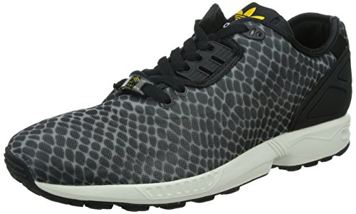 Adidas Originals ZX Flux Decon Trainers in Black & Collegiate Gold Print B23724, Clonix/Cblack/Cogold, 1 UK / 39 EU