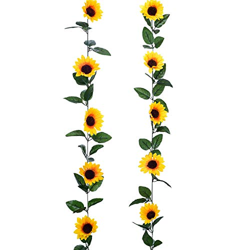 YQing 2 Pack Artificial Sunflower Garland Silk Sunflower Vine Artificial Flowers with Green Leaves Wedding Table Decor