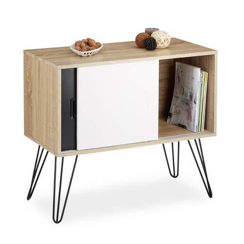 Relaxdays Sideboard Retro, commode met schuifdeuren, buffet van hout en metaal, HBT: 70 x 80 x 40 cm, zwart-wit