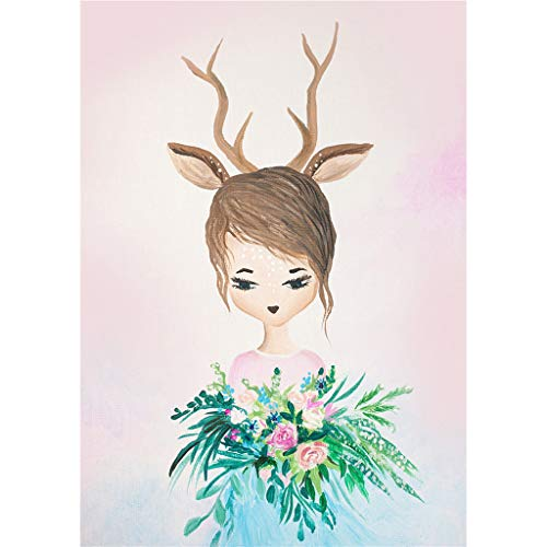 Grandes ventas Calvinbi nórdico acuarela sueño conejo habitación niños decoración pintura conejo frameless