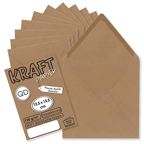 50x Vintage-Umschläge quadratisch aus braunem Kraftpapier - 15,5 x 15,5 cm - Nassklebung Spitzklappe - NEUSER PAPIER