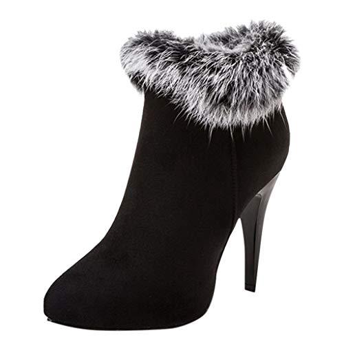 Ansenesna Stiefeletten Damen Grau Mit Absatz Schuhe Frauen Wildleder Mode Vintage Boots Schwarz Rot...