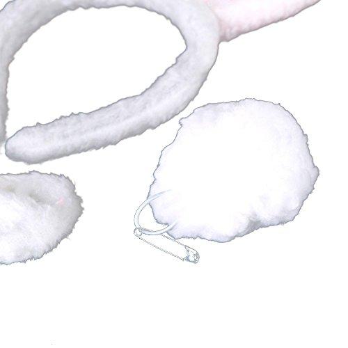 TOOGOO(R) Kostuem Kleidung Dekor Halloween Pluesch Fluffy Kaninchen Ohren Haar Baender Fliege Schwanz Tier Haeschen Kostuem Party Zubehoer Set Weiss Rosa