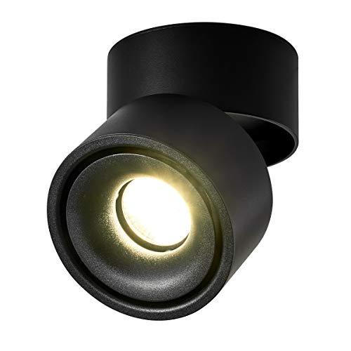 Dr.lazy 10W LED Aufbauleuchte Deckenleuchte,Deckenspots, wandleuchten,Deckenfluter,Deckenstrahler,DeckenLampe,Deckenbeleuchtung,Falten Drehen Aufputz Deckenleuchte,Aluminium,10x10x10CM (Schwarz-3000K)