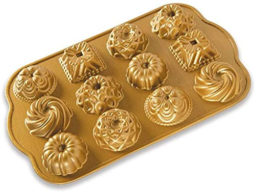 Nordic Ware Charms Cast Bundt Pan, 1.2 Cup Capacity, Gold
