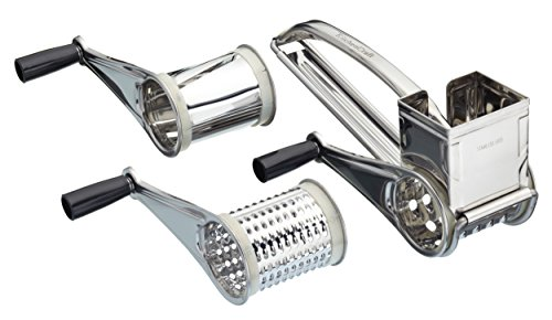 KitchenCraft Stainless Steel Rotary Cheese Grater / Vegetable Shredder (4-Piece Set)