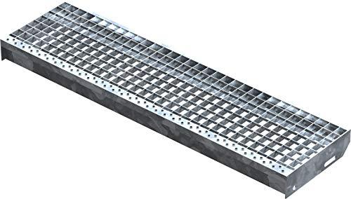 Fenau | Gitterrost-Stufe (R11) XSL – Maße: 1000 x 270 mm, MW: 30/30 mm, Vollbad-Feuerverzinkt, Stahl-Treppenstufe nach DIN-Norm, Fluchttreppen geeignet, Anti-Rutsch-Wirkung