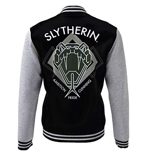 HARRY POTTER Slytherin Hombre Chaqueta Universitaria jaspeado negro/gris L, 70% algodón, 30% poliéster,