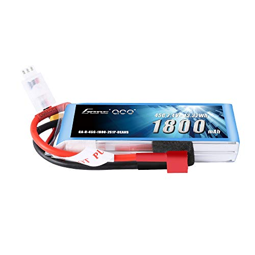 Gens ace LiPo Battery Pack 1800mAh 7.4V 45C 2S with Deans Plug for RC FPV Car Boat Truck Heli Foamy Airplane Mini Car Small Helicopter
