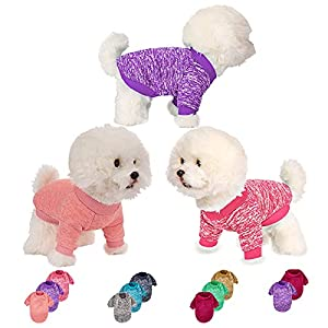 Dog Sweater 3 or 2 Pieces for Small Medium Large Dog or Cat, Warm Soft Pet Clothes for Puppy, Small Dogs Girl or Boy, Dog Sweaters Shirt Jacket Vest Coat for Winter (L, Pink+Purple+HotPink)