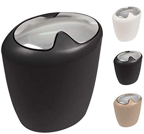 """Spirella Design Poubelle Push """"Etna"""" Hips Salle de Bains 7 litres à Couvercle pivotant Poubelle à cosmétiques Récipient à ordures (HxLxP): 30 x 25 x 18 cm Noir"""