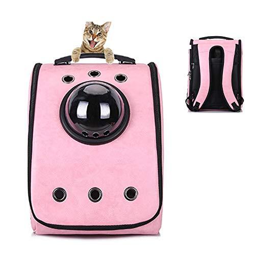 Astronauten Katzentasche aus PU Leder Mit Hundetasche Kuppelfenster Luftgeprüfte wasserdichte Tragbare Transporttasche Für Kleine Haustiere (Farbe : Pink)