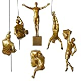 AO Sculptures Retro Rock Climbing Character Sculpture Wall Hanging Background Wall Home Decoration Hanging Climbing Statue (Color : Gold)