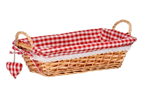 Premier Housewares - Panera Rectangular de Mimbre con Forro de Color Blanco y Rojo 35 x 17 x 9 cm