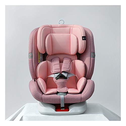 Asiento de Seguridad para niños de 0 a 12 años de Edad, Asiento Giratorio portátil para automóvil de 360 Grados para automóvil (rotación hacia adelante y hacia atrás)-Pink
